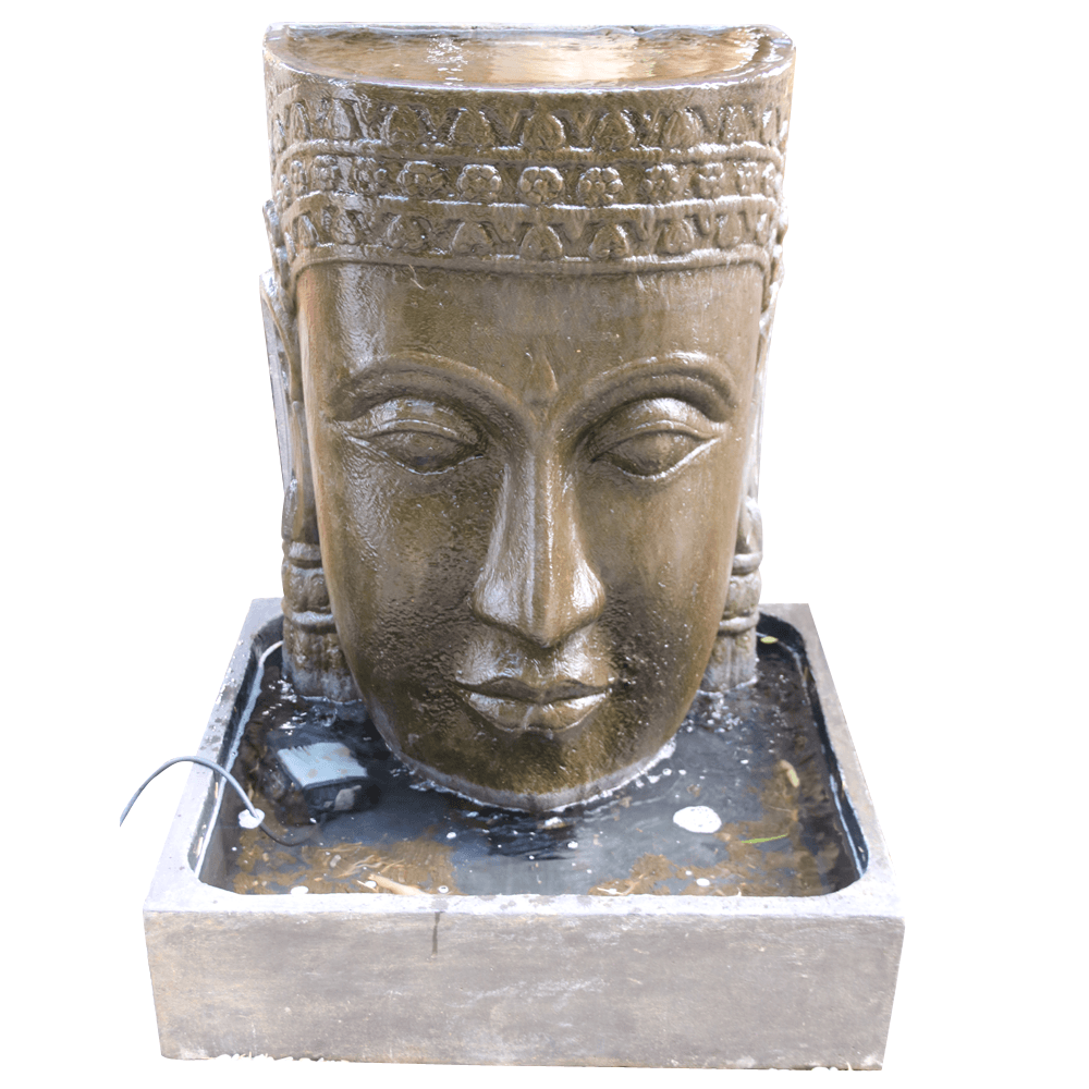 Wasserspiel Khmer Kopf Figuren Skulpturen Garten Japanwelt