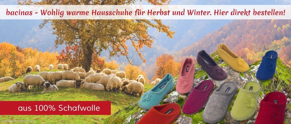 Bacinas Wollhausschuhe aus 100% Schafwolle - warm und weich, für angenehm warme Füße im Winter. Hier kaufen!