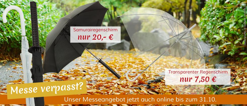 Danke für die erfolgreiche Messe! Für alle, die nicht dabei sein oder keinen der Schirme mehr ergattern konnte, bieten wir unsere Messe-Rabatte auch im Online-Shop an! Aber nur bis zum 31. Oktober.