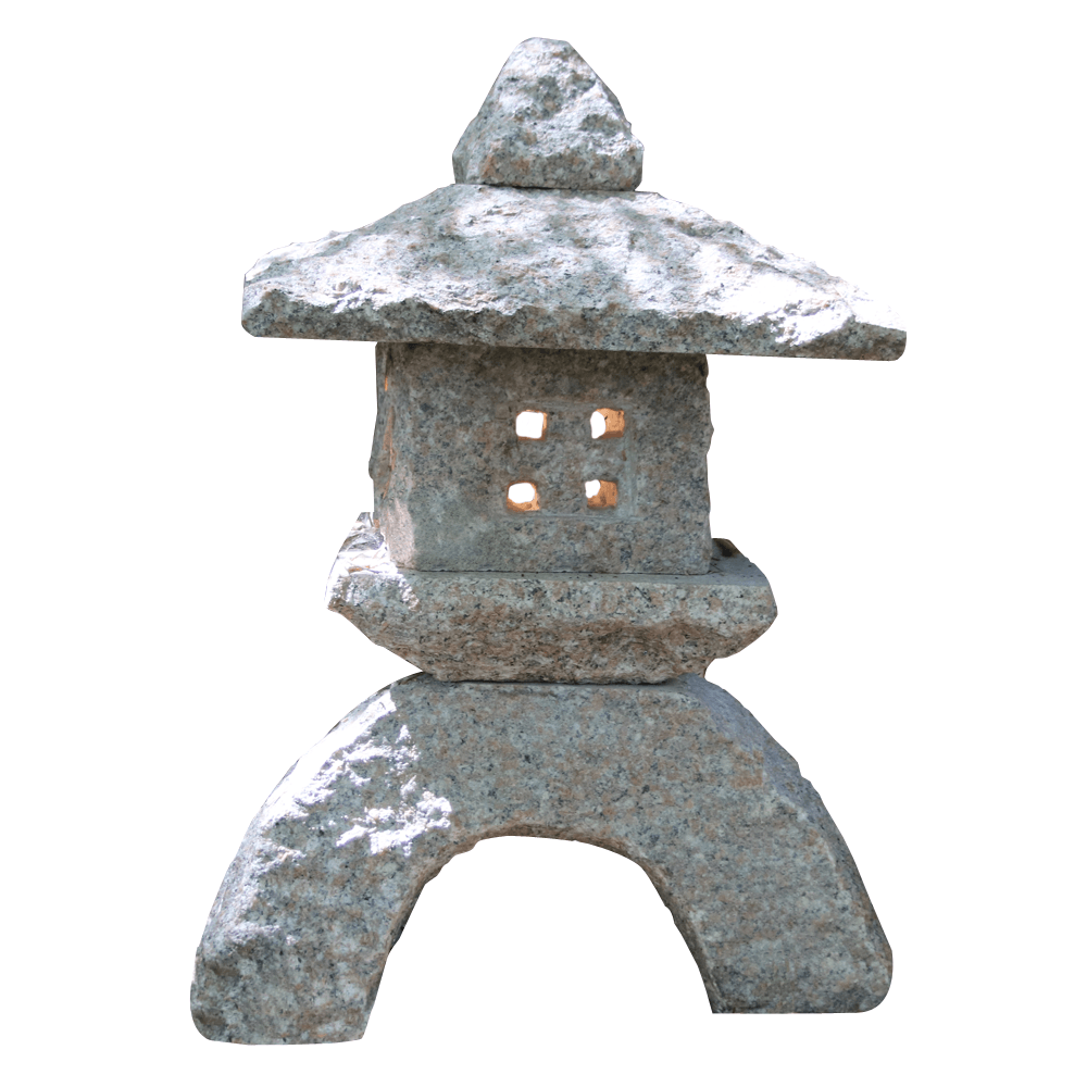 Rokkaku Yukimi Japanische Steinlaterne Granitlaterne 30 cm