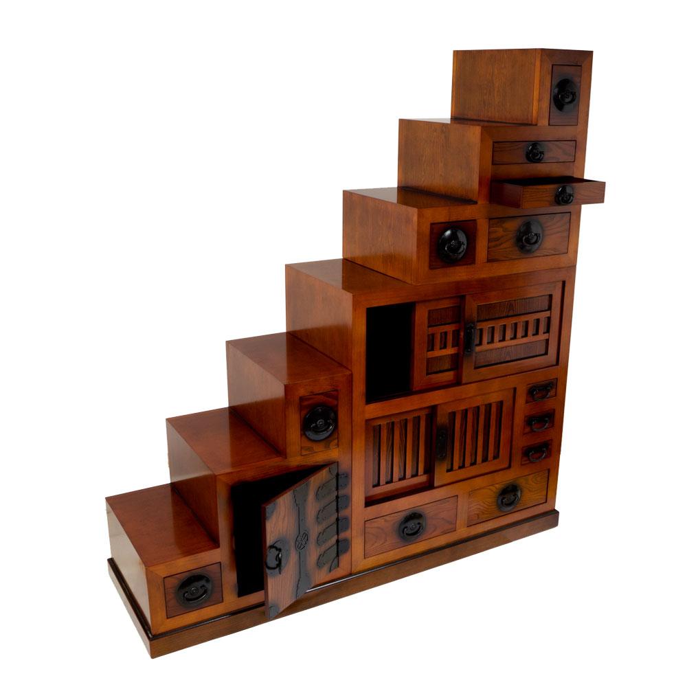 variabler treppen tansu aus hellem holz japanischer schrank. Black Bedroom Furniture Sets. Home Design Ideas