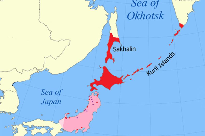 Karte Verbreitung der Ainu Völker in Japan