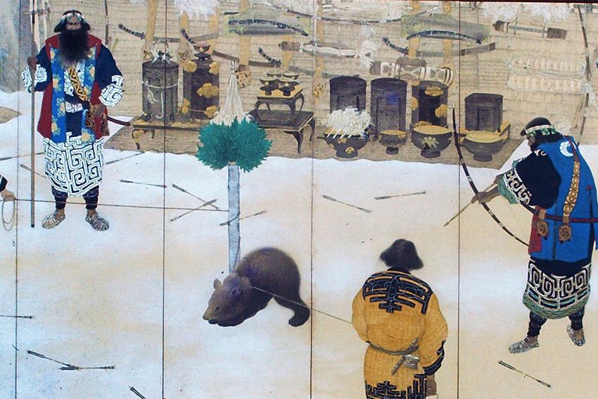 Bärenjagd der Ainu in Japan