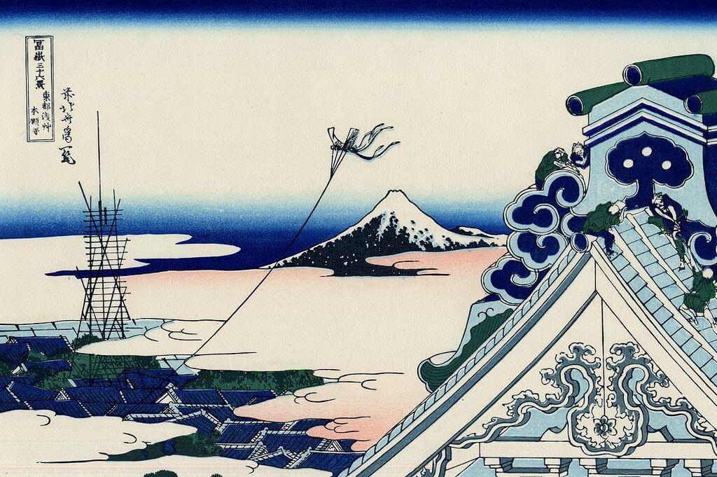 Der Asakusa Honganji Tempel im Vordergrund und der Fuji im Hintergrund