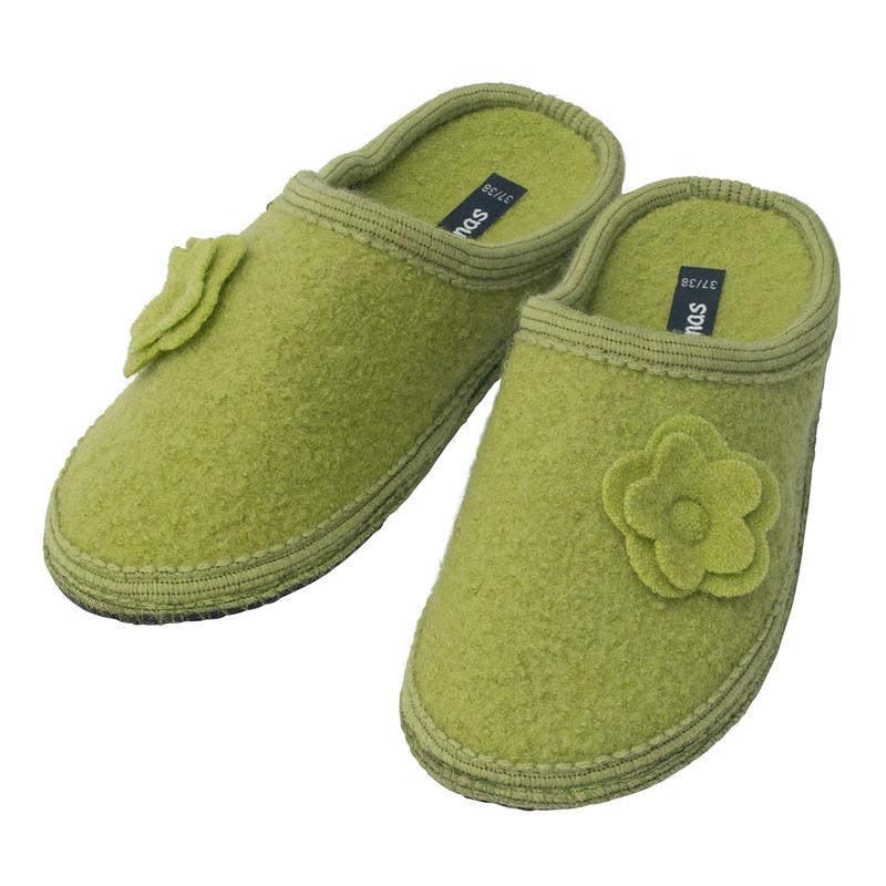 super popular 1aa3c 6d0c4 bacinas Damen-Pantoffeln aus Schurwolle mit Filzblume