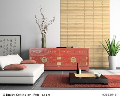 Wohnzimmereinrichtung mit Bambusmöbeln