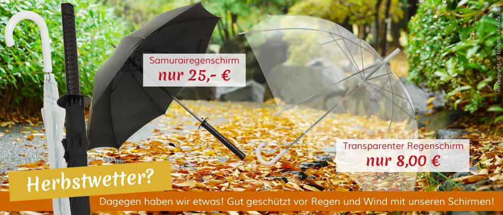 Samuraischirm und transparenter Japan Regenschirm - so kommen Sie perfekt geschützt durch das Herbstwetter!