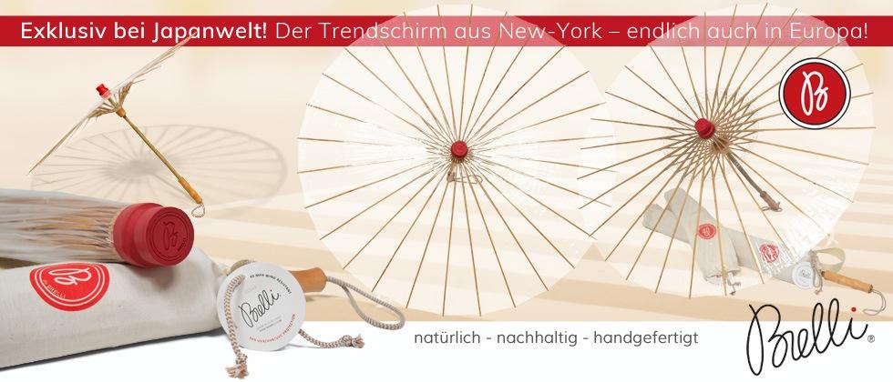 BRELLI ist der perfekte Begleiter für den Herbst! Endlich ist der Trendschirm aus New York auch bei uns verfügbar. Schützt vor Regen, UV-Strahlen und Wind. 100% biologisch abbaubar. Ein echtes Multitalent im japanischen Design.