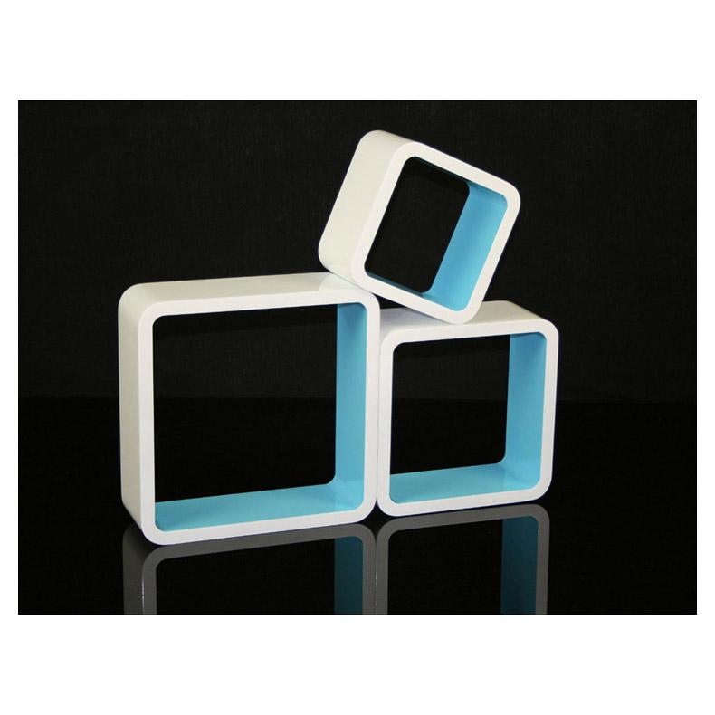 cube retro design wandregal 3er set quadratisch regale. Black Bedroom Furniture Sets. Home Design Ideas