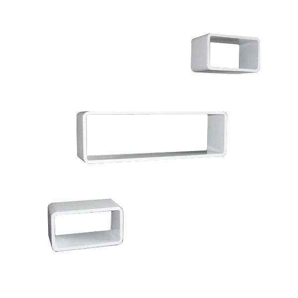 cube wandregal 3er set rechteckig schmal regale. Black Bedroom Furniture Sets. Home Design Ideas