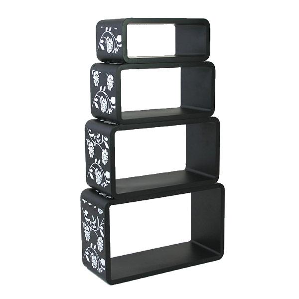 Amazing Interesting Cube Wandregal Er Set Schwarz Mit Muster With Wandregal  Quadratisch With Gnstige Gartensthle