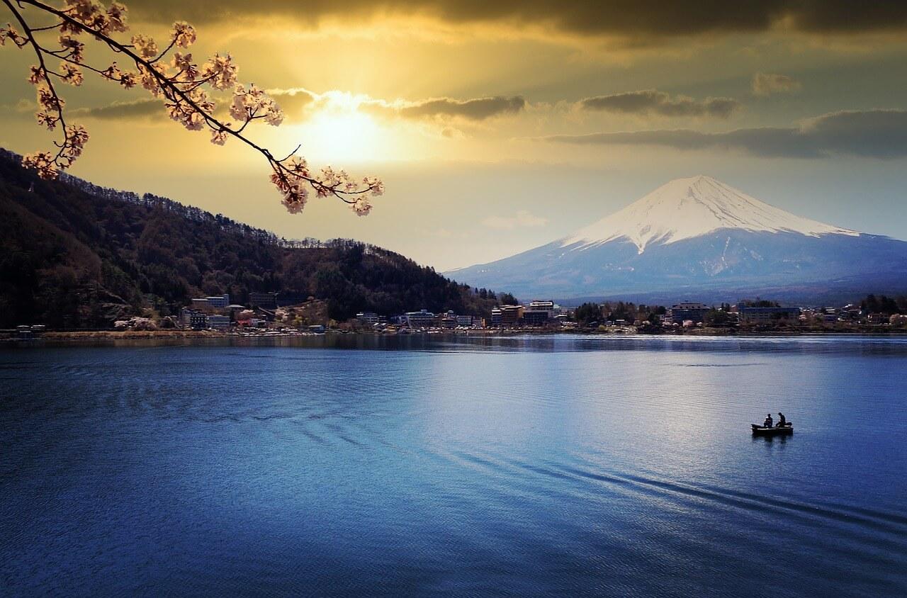 Aufnahme des Fujis beim Sonnenuntergang