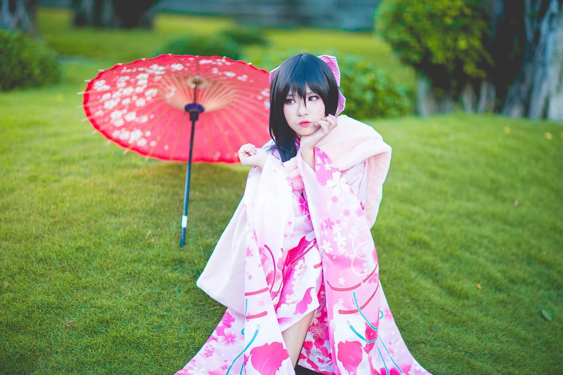 Japanisches Mädchen als Geisha verkleidet