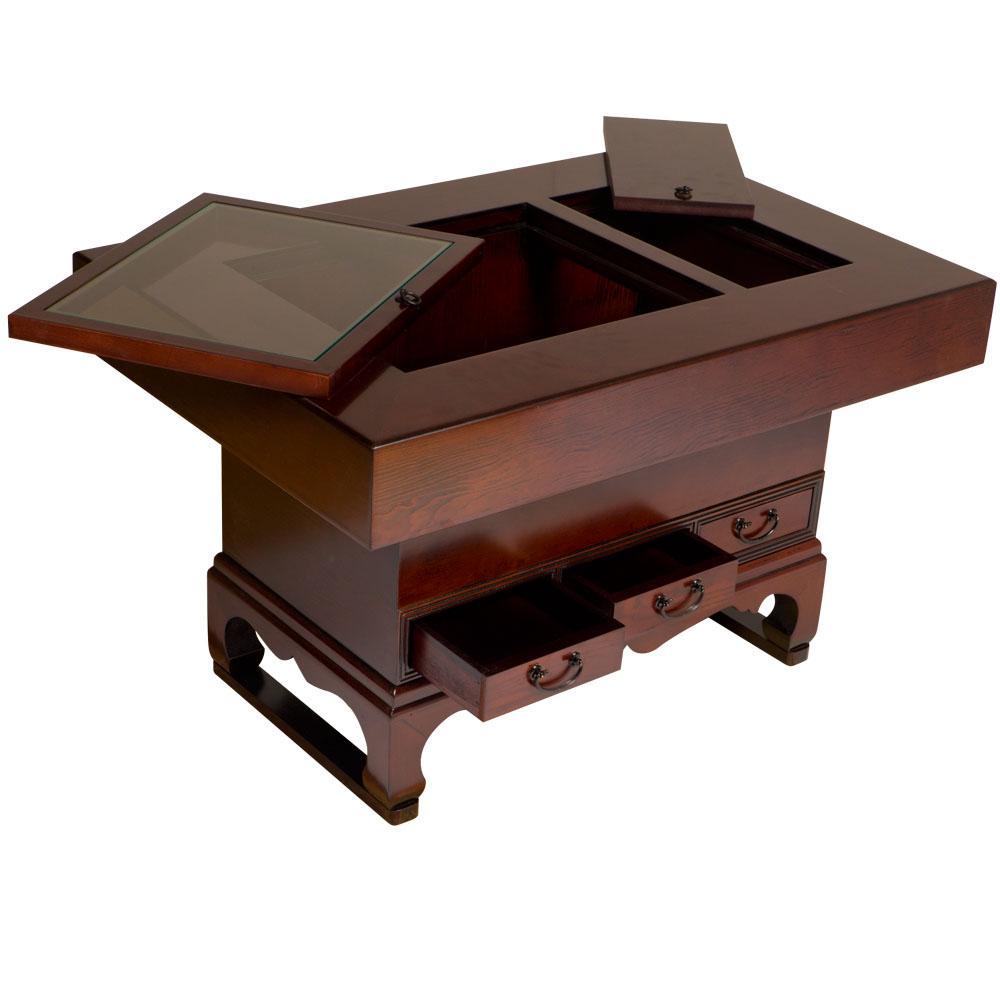 hibachi tisch mit drei schubladen japanischer kaffeetisch. Black Bedroom Furniture Sets. Home Design Ideas