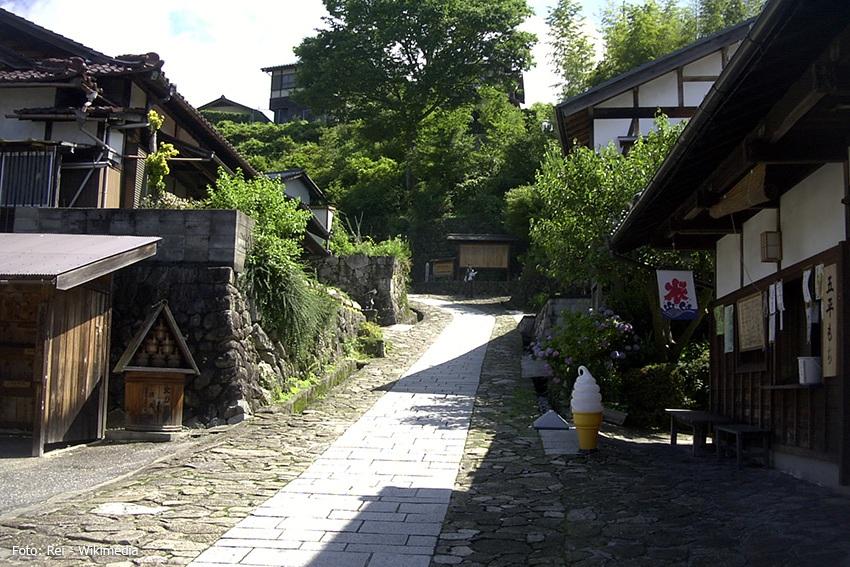 Wandern in den japanischen Alpen - historisches Dorf Magome