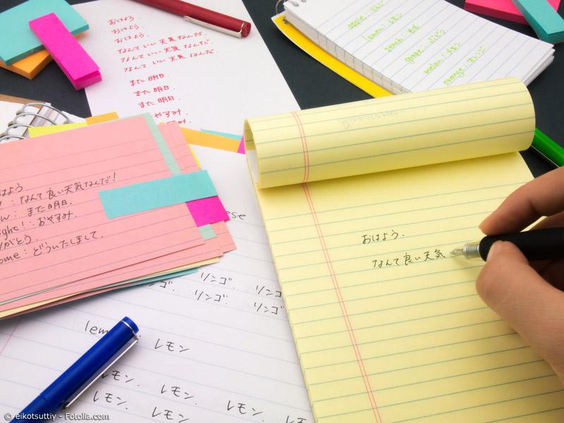 Japanisch lernen ist Fleißarbeit. Beständiges Üben und Aneignen neuer Vokabeln führt langfristig zum Erfolg.