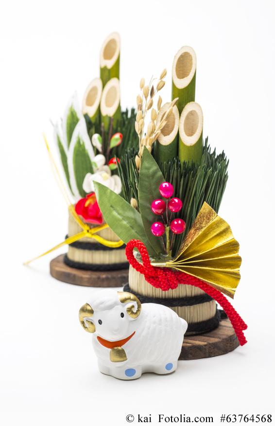 Kadomatsu (門松) Bambusgestecke sind die typische japanische Neujahrs-Dekoration