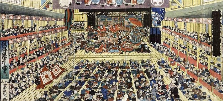 Kabuki Aufführung im alten Japan