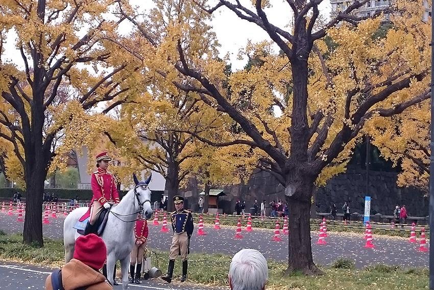 berittene kaiserliche Polizei im Park des kaiserlichen Palastes in Tokio