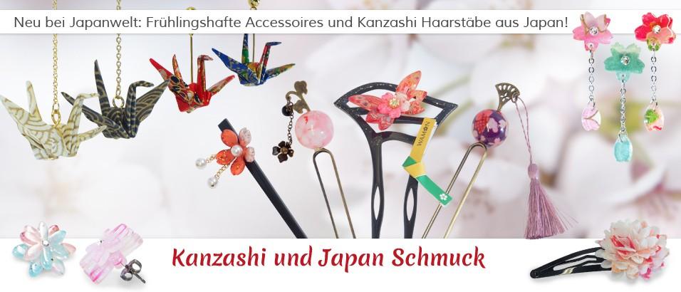 Japanischer Schmuck wie Origami Ohrringe und Kanzashi Haarstäbe jetzt neu bei Japanwelt