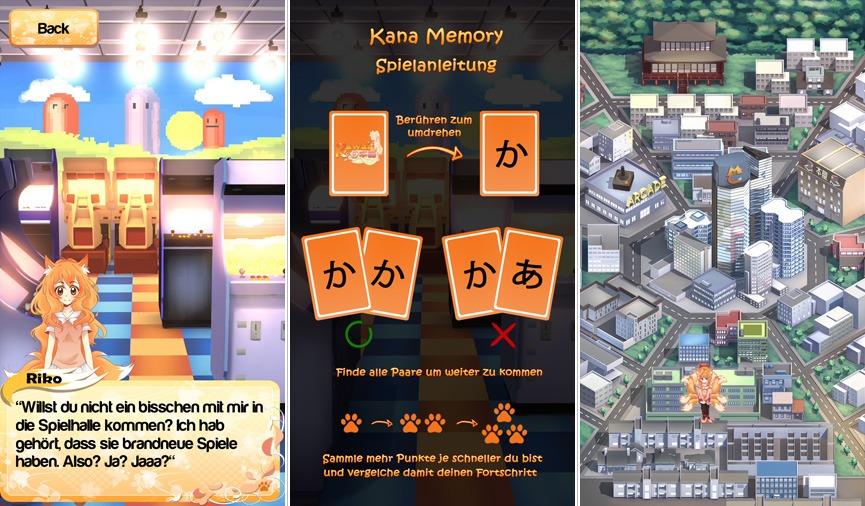 Durch Spiele kann Gelerntes in der App Kawaii Nihongo gefestigt werden. In der Lernumgebung, die wie eine Stadt gestaltet ist, gibt es aber noch mehr zu entdecken.
