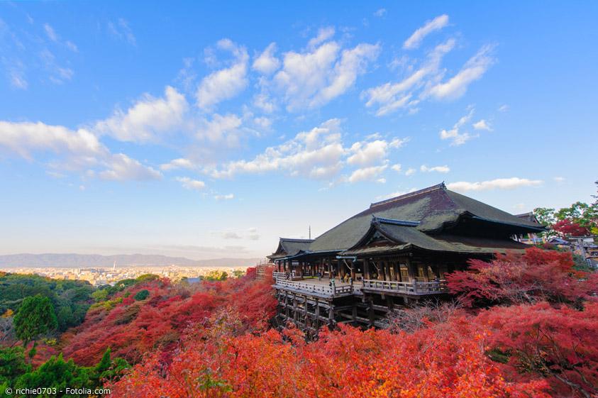 Am Kiyomizu-dera in Kyoto zeigt sich jedes Jahr die wunderschöne Herbstlaubfärbung. Dies ist nur einer der Orte in und um Kyoto, an denen man das bunte Laub genießen kann.