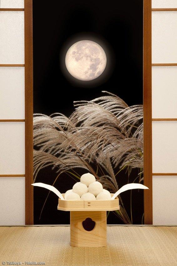 Tsukimi Dango und Susuki (japanisches Pampagras) sind feste Symbole des Mondfestes in Japan.