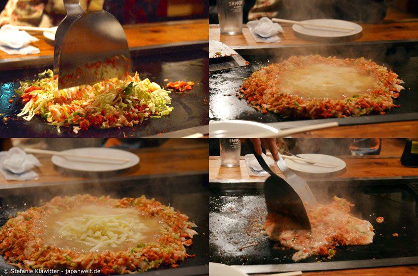 Das Monjayaki aus Tokyo unterscheidet sich in seiner Zubereitungsart und der Teigkonsistenz von den anderen Okonimiyaki Sorten.