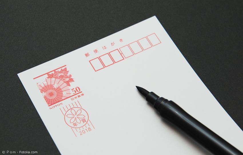 Umschlag für japanische Neujahrskarte mit Pinselstift