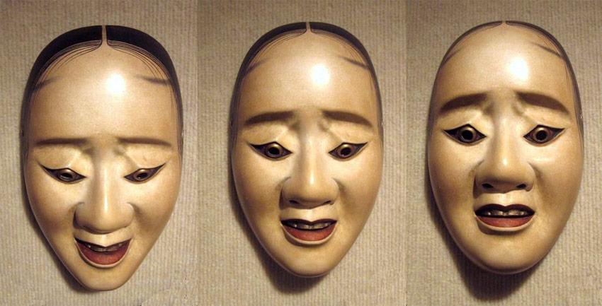 Noh Maske aus drei Perspektiven