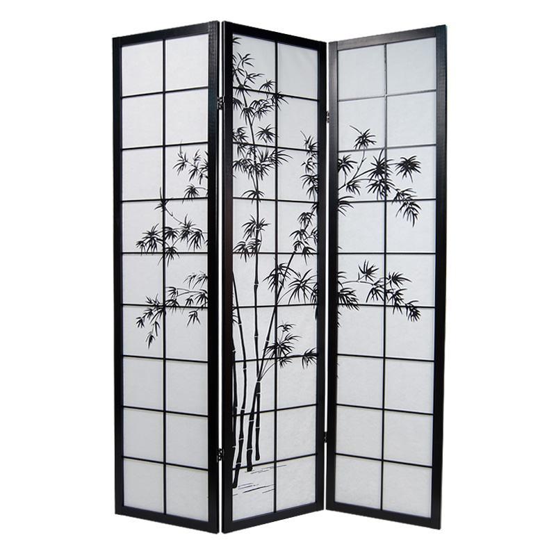 paravent drei oder vier fl gel mit bambusmotiv. Black Bedroom Furniture Sets. Home Design Ideas
