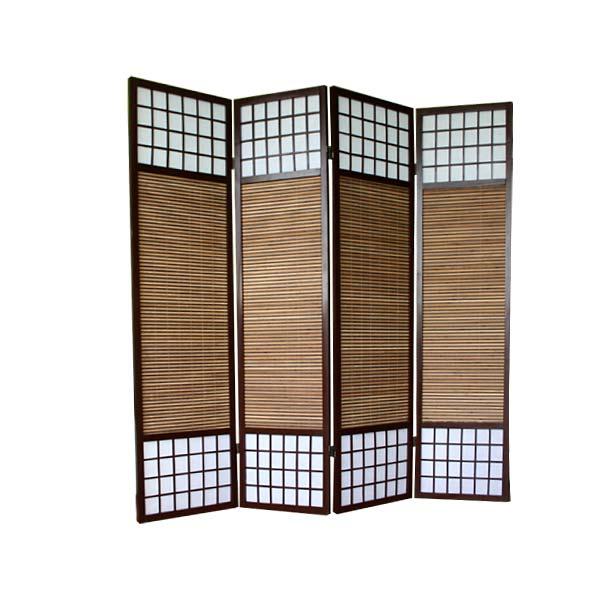 paravent shoji mit bambuslamellen sondergr e paravents raumteiler japanwelt. Black Bedroom Furniture Sets. Home Design Ideas