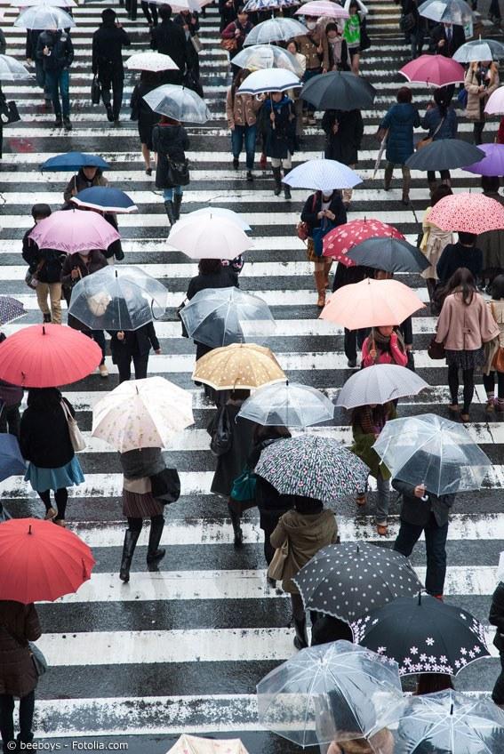Während der Regenzeit sind Unterkünfte günstiger und beliebte Sehenswürdigkeiten nicht so überlaufen. Daher lohnt sich auch die Regenzeit als Reisezeit in Japan.