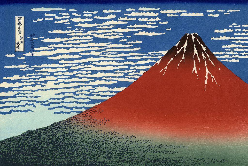 Darstellung des roten Fuji im Morgengrauen
