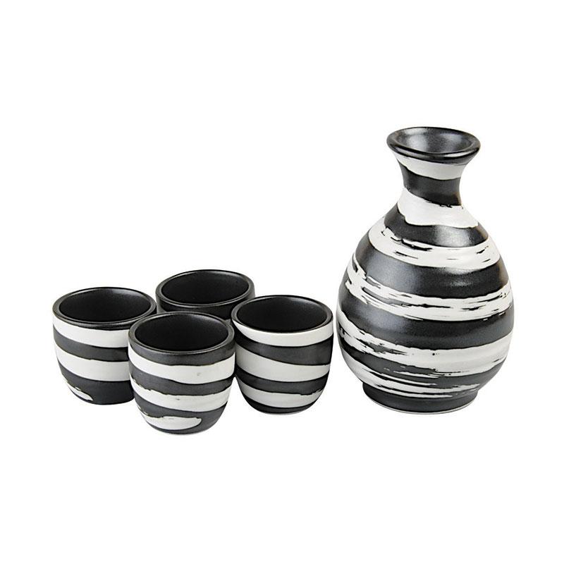 sake set 39 zebra 39 sake japanische k che japanwelt. Black Bedroom Furniture Sets. Home Design Ideas