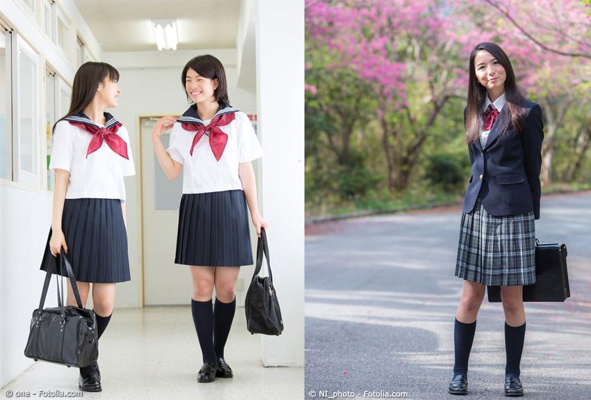 Japanische Schulmädchen in Uniform