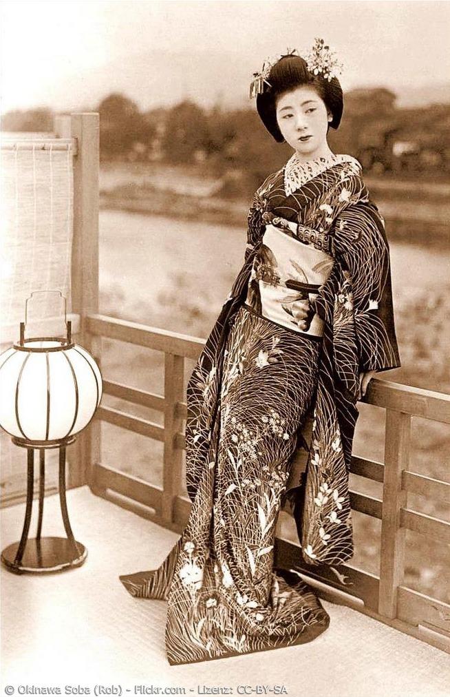 Maiko im Kimono, der mit Ise Katagami Technik gefärbt wurde
