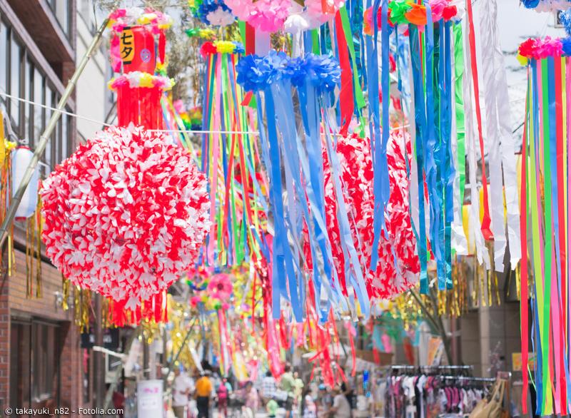 Tanabata Dekoration in japanischer Straße
