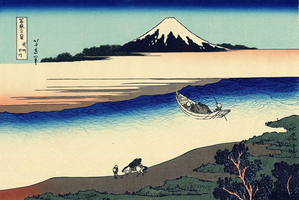 Der Fluss Tama mit Fischer und Fuji
