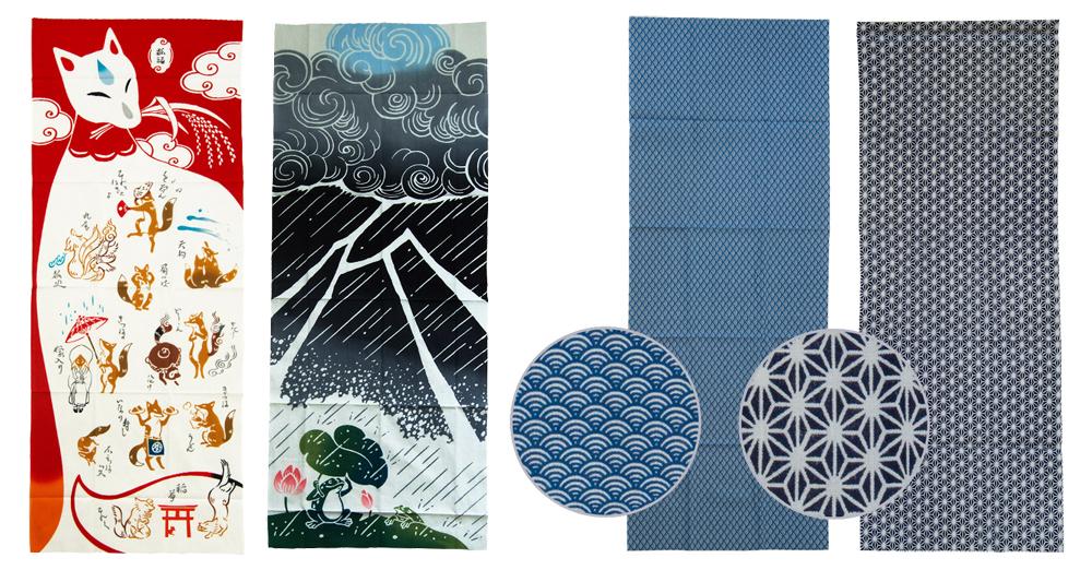 Tenugui gibt es in verschiedenen Färbe-Arten und mit modernen sowie klassischen japanischen Mustern.