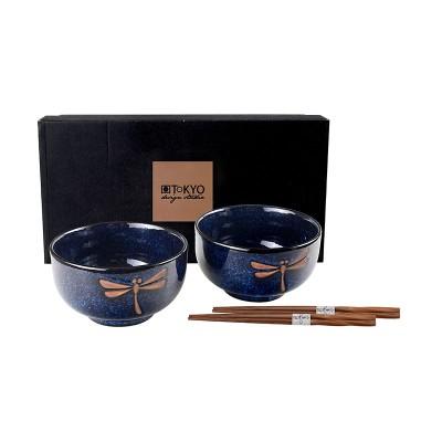 2er-Set Nudelschüsseln 'Tonbo' 12,7x7,5cm mit Essstäbchen
