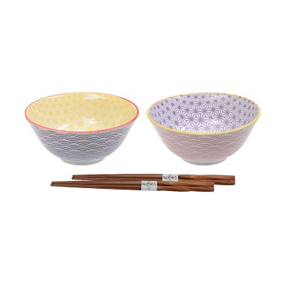 2er-Set Reisschalen 'Asanoha Seigaiha' 15,2cm mit Stäbchen
