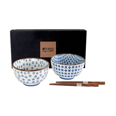 2er-Set Speiseschalen 'Aoi Hana' 12,7x7,5cm mit Essstäbchen