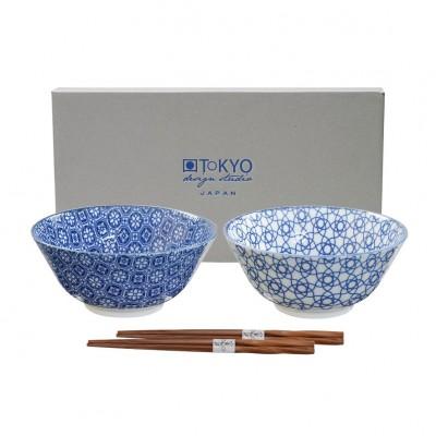 2er-Set Speiseschalen 'Japan Blau' mittel mit Stäbchen