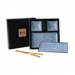 2er Sushi-Set 'Klee – Blau/Weiß' (6-teilig)
