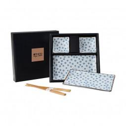 2er Sushi-Set 'Kornblumen – Blau/Weiß' (6-teilig)