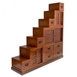 3-teiliger Treppen-Tansu (Kaidandansu) mit vielen Schiebetüren variabel hell