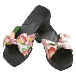 Damen Sandale aus Holz Schleife Weiß