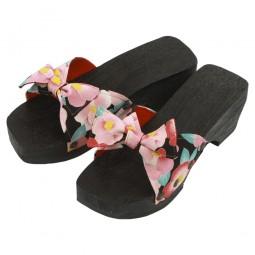 Damen Sandale aus Holz Schleife Schwarz