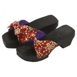 Damen Sandale aus Holz Kozakura Schleife